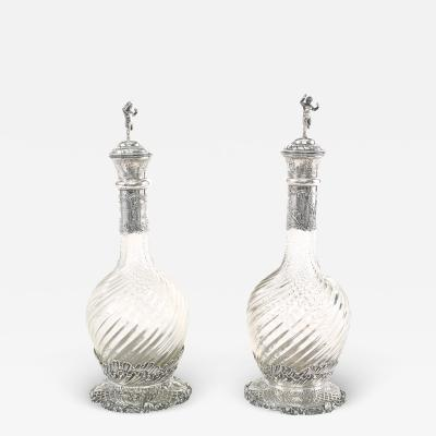 German Silver Mounted Cut Glass Pair Claret Jugs