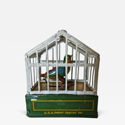 German Song Bird in Cage Toy Circa 1920