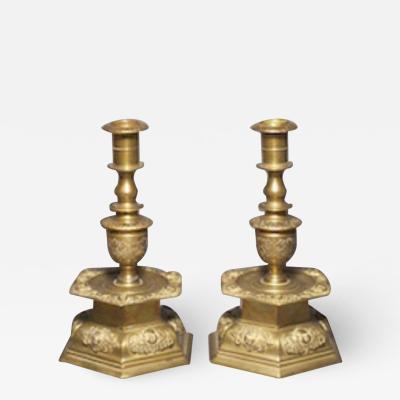 German pair brass candlesticks