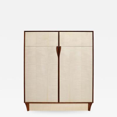 Germano Marchetti Bleached Maple Wood Cabinet Dining Hutch or High Boy Walnut Framing