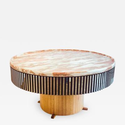 Germano Marchetti Disc bolo Round Carved Marble Centre Table