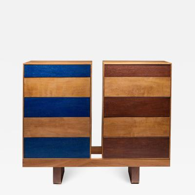 Germano Marchetti Twins Chest of Drawers in Iroko and Painted Front Drawers