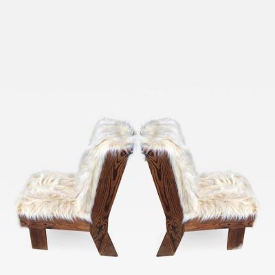 Gerrit Rietveld Gerrit Rietveld pair of brutalist raw pine slipper chairs