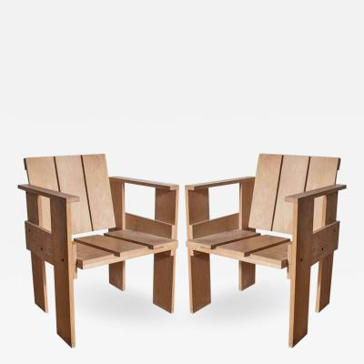 Gerrit Rietveld Pair Gerrit Rietveld Crate Chairs Cassina Stamped Italy 1970