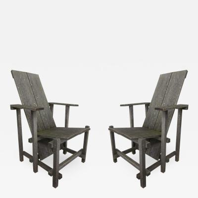 Gerrit Rietveld Pair of Modern Lounge Garden Chairs in the Style of Gerrit Rietveld
