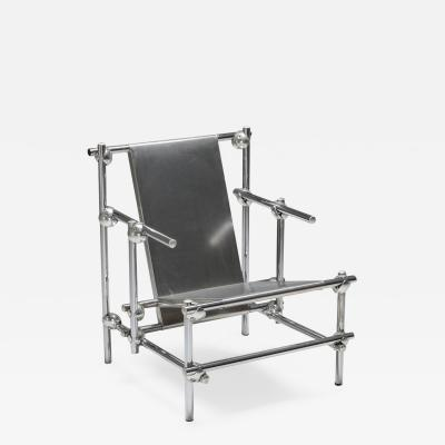 Gerrit Rietveld Postmodern Rietveld Style Chromed Metal Lounge Chair 1970s