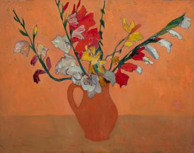Gershon Benjamin Gladioli in Clay Pot