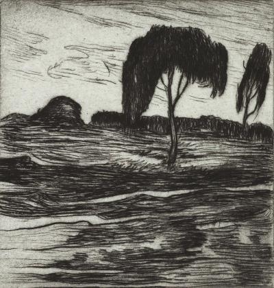 Gershon Benjamin Landscape with Trees ca 1930s