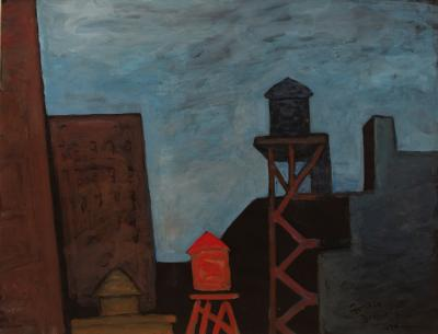 Gershon Benjamin Night Time Rooftops with Water Tanks