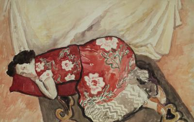 Gershon Benjamin Resting in Red ca 1950