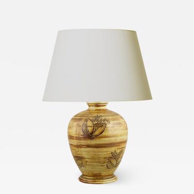 Gertrud Lonegren Elegant Lamp with Faux Bois Glaze by Gertrud Lonegren