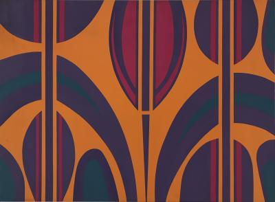 Gertrude Shibley City Foliage Series Hard Edge Abstract Painting