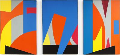 Gertrude Shibley Monumental Triptych Gateway to the Big Apple In Transit Series NYC 1970s