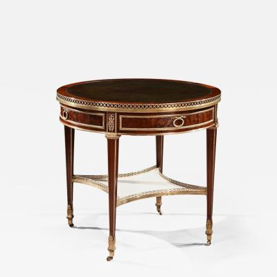 Gervais Durand EXCEPTIONAL GERVAIS DURAND MAHOGANY AND GILT BRONZE GUERIDON BOUILLOTTE TABLE