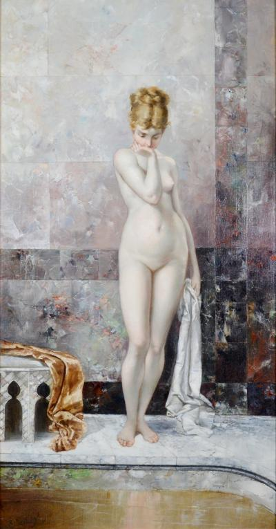 Geskel Saloman Apprehension 19th Century French Exhibition Oil Painting Nude Portrait