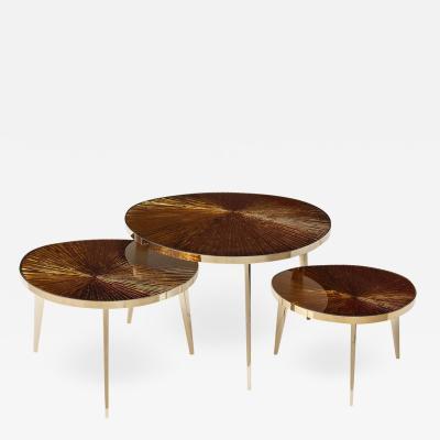 Ghir Studio Tris Gold Nest of Tables by Ghir Studio