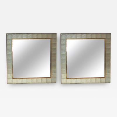 Ghiro Studio Ghir Pair of Pastis Wall Mirrors Gold Brass and Crystal Glass Circa 2000