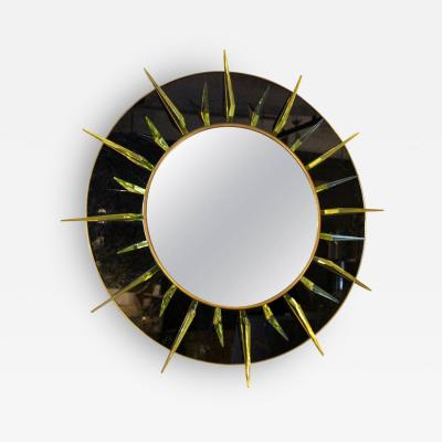 Ghiro Studio Large Brass and Glass Convex Mirror by Studio Ghiro Italy 2010