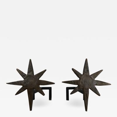 Giacometti inspired cast bronze andirons