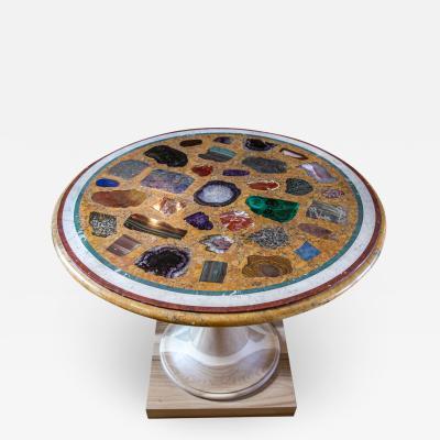 Giacomo Raffaelli A circular Italian specimen marble and scagliola table top