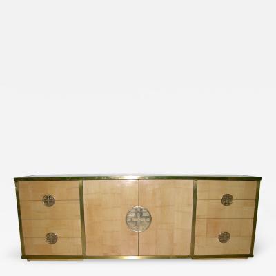 Giacomo Sinopoli Sinopoli 1970s Italian Back Finished Asian Style Brass Bamboo Sideboard Cabinet