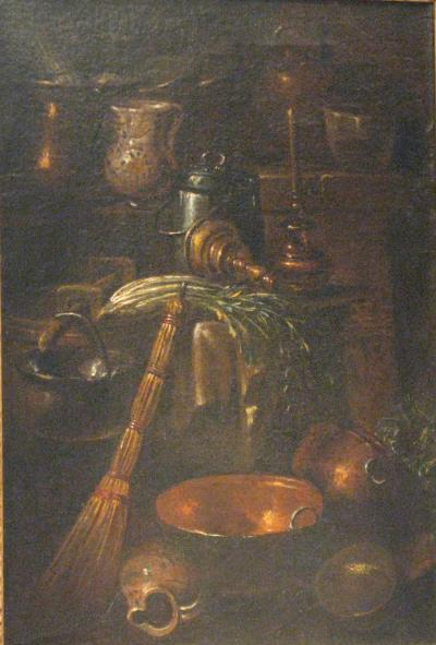 Gian Domenico Valentino Kitchen Still Life with Celery Ceramic Pots and Copper Cooking Utensils