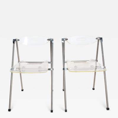Giancarlo Piretti Mid Century Modern Pair Italian Lucite Folding Chairs