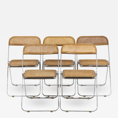Giancarlo Piretti Series of five caned chairs 1970s