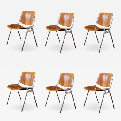 Giancarlo Piretti Set of Six 1960s Giancarlo Piretti Stackable Chairs for Castelli
