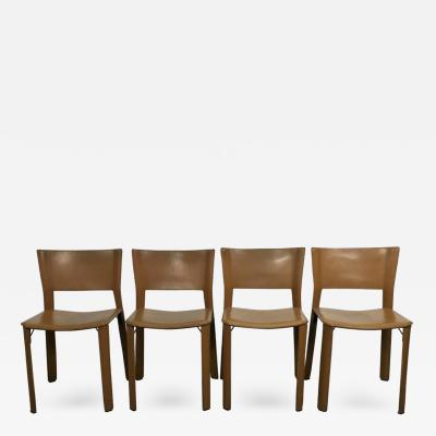 Giancarlo Vegni Set of Four Leather Giancarlo Vegni S91 Chairs for Fasem Italy
