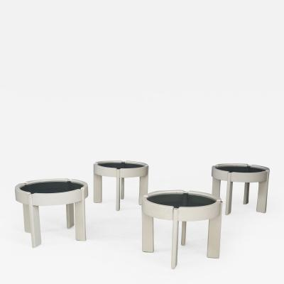 Gianfranco Frattini 50s stools in wood and smoked glass