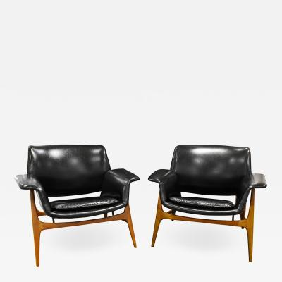 Gianfranco Frattini Gianfranco Frattini Pair of Sculptural Lounge Chairs 1959
