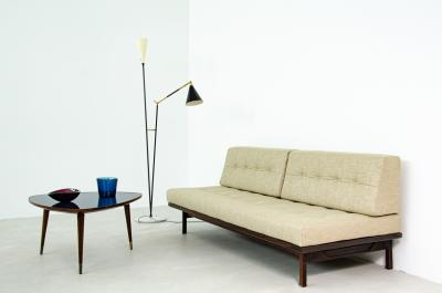 Gianfranco Frattini Gianfranco Frattini daybed in exotic wood with upholstered cushions