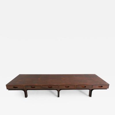 Gianfranco Frattini Gianfranco Frattini long center bench or coffee table in jacaranda wood