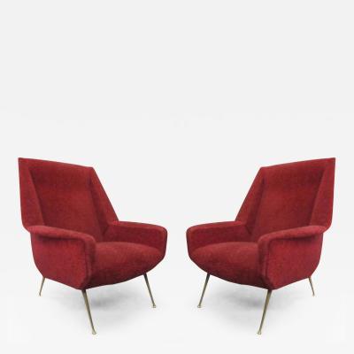 Gianfranco Frattini Italian Mid Century Modern Lounge Chairs Attributed to Gianfranco Frattini Pair