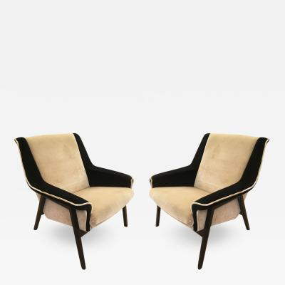 Gianfranco Frattini Pair of Mid Century Armchairs in the Manner of Gianfranco Frattini
