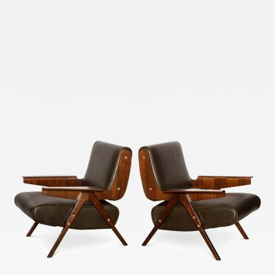 Gianfranco Frattini Rare Pair of 831 Lounge Chairs by Gianfranco Frattini for Cassina