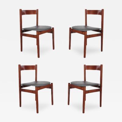 Gianfranco Frattini Set of 4 Walnut Dining Chairs by Gianfranco Frattini 1950 s