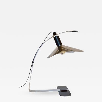 Gianfranco Grignani Grignani for Luci 1970s Italian Vintage Adjustable Black and Nickel Desk Lamp