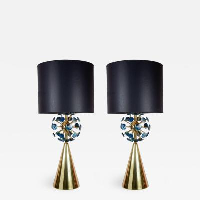 Gianluca Fontana Fantastic pair of lamps with agates by Gianluca Fontana