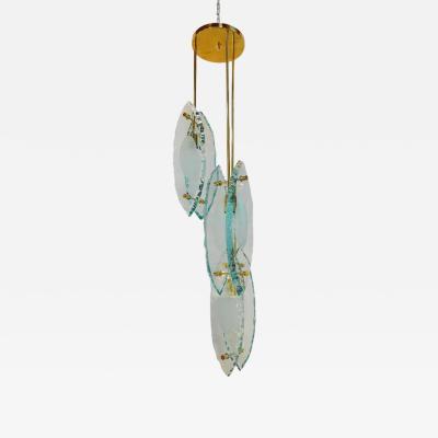 Gianluca Fontana Italian Chandelier Thick Etched Glass Brass Exclusive Design Gianluca Fontana