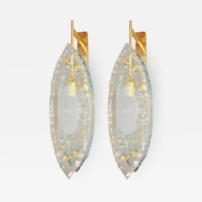 Gianluca Fontana Pair Italian Sconces Thick Etched Glass Brass Exclusive Design Gianluca Fontana