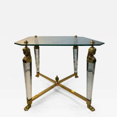 Gianni Versace MODERN NEO CLASSUCAL BRASS LUCITE AND GLASS TABLE IN THE MANNER OF VERSACE