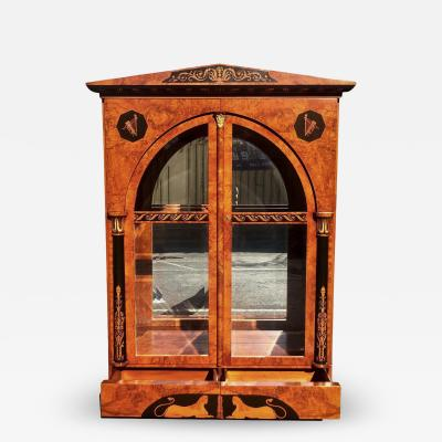 Giemme Italian Neoclassical Inlaid Breakfront China Display Cabinet