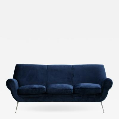 Gigi Radice Gigi Radice Mid Century Modern Navy Blue Cotton Velvet Curved Italian Sofa