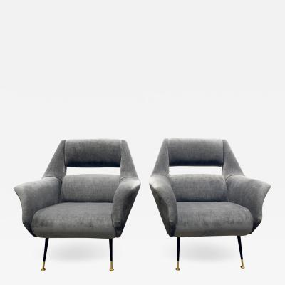 Gigi Radice Gigi Radice Pair of Chic Lounge Chairs with Open Backs 1950s