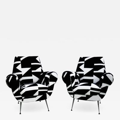 Gigi Radice Gigi Radice for Minotti Mid Century Modern Pair of Italian Armchairs 1950s