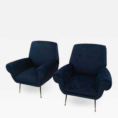 Gigi Radice Gigi Radice pair of blue velvet armchairs circa 1960