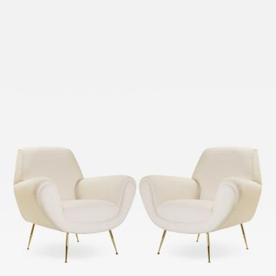 Gigi Radice Italian Club Chairs in Ivory by Gigi Radice for Minotti 24k Gold Edition Pair
