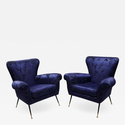 Gigi Radice Pair of Vintage Gigi Radice Italian Armchairs in Ultramarine Upholstery